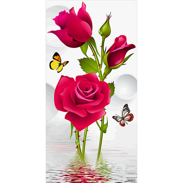 Diamond Painting-DIY Full Round Drill Rose and Butterflies (45*85cm)