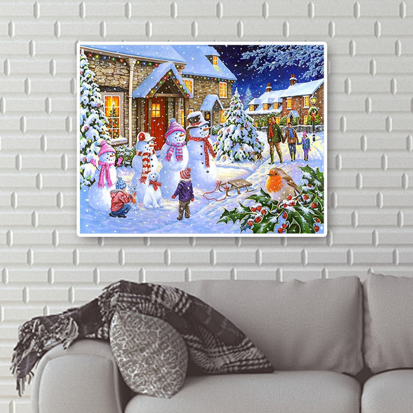Diamond Painting-DIY Full Round Drill Snowman (50*40cm)