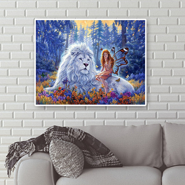 Diamond Painting-DIY Full Round Drill Lion and Girl (50*40cm)