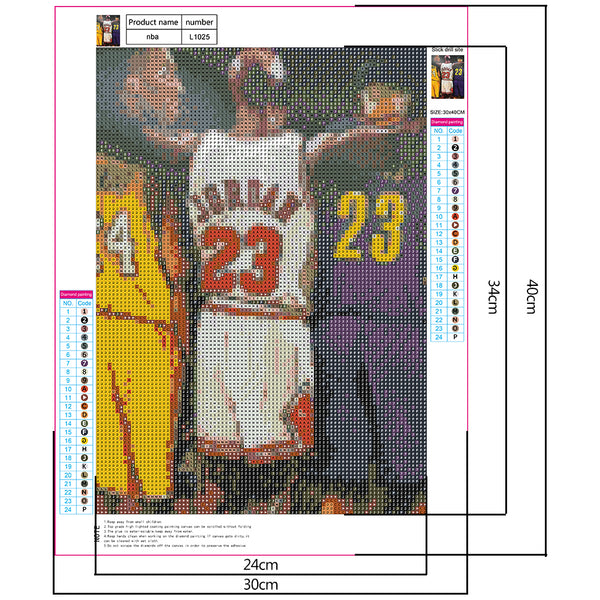 Diamond Painting-5D Full Drill Basketball Player