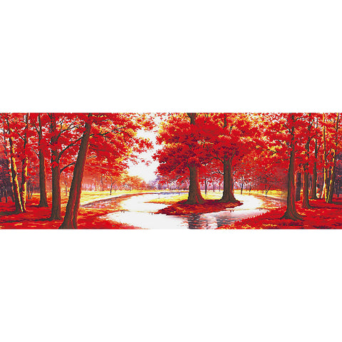 Diamond Painting-DIY Full Round Drill Red Forest(80x30cm)