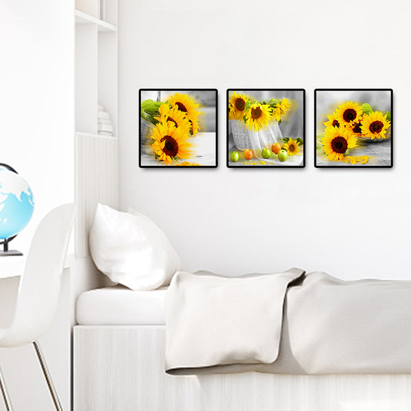 Diamond Painting-3 Pcs DIY Full Round Drill Sunflowers (35x105cm)