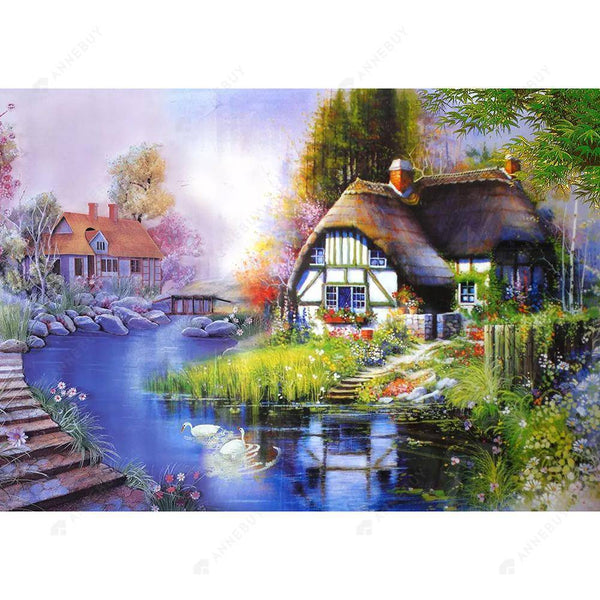 Diamond Painting -DIY Partial Round Drill Relaxing Quiet Town