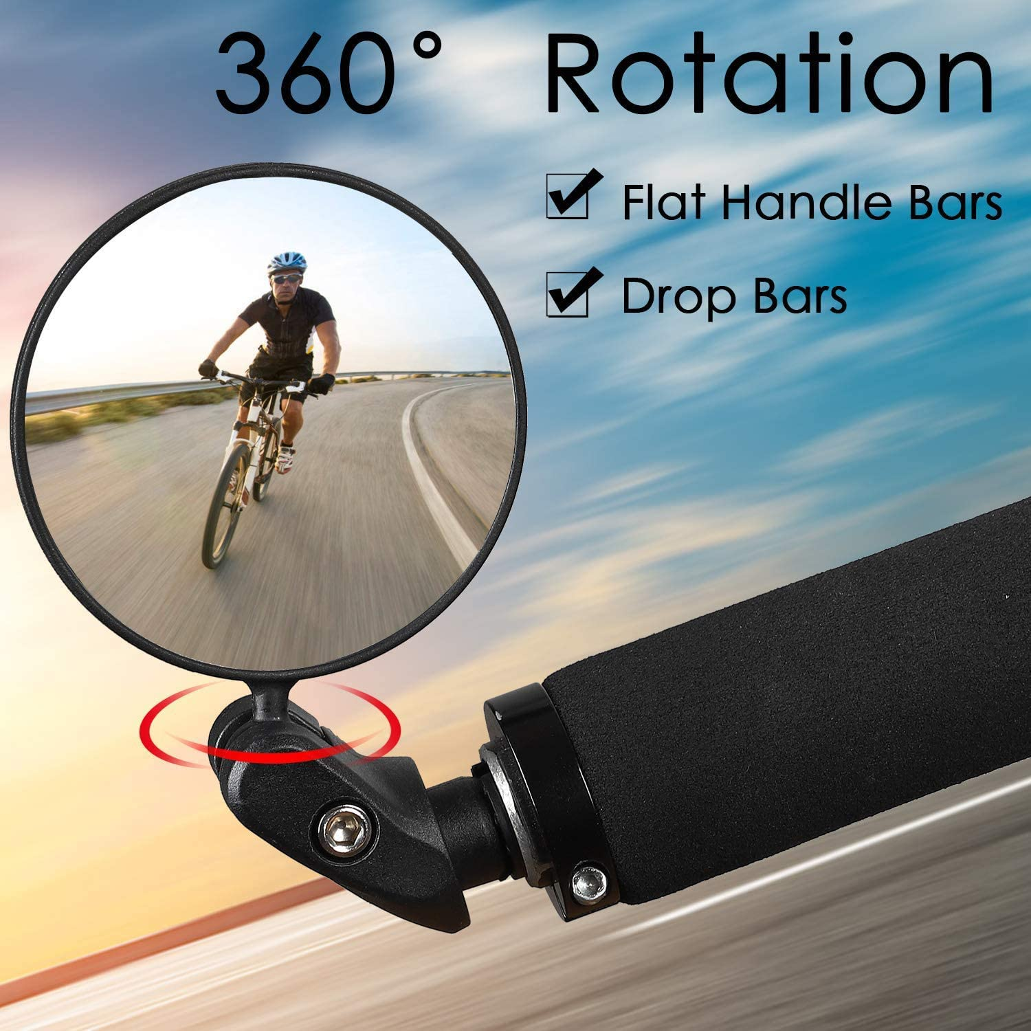 Bicycle Rear View Mirror, 360°Rotating Bar End Mirror, Handlebar Convex Mirror