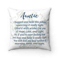 Auntie Poem Decorative Square Pillow Cover (No Insert)