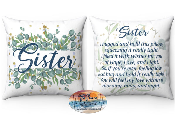 Sister Poem Decorative Square Pillow Cover (No Insert)