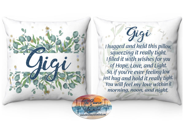 Gigi Poem Decorative Square Pillow Cover (No Insert)