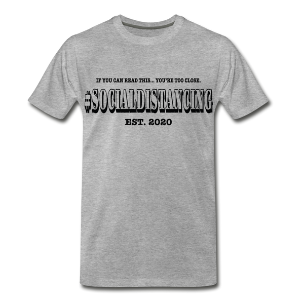 # Social Distancing Adult T-Shirt Black Text - heather gray