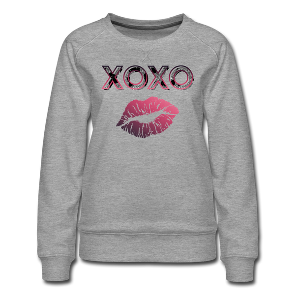 XOXO Kiss Pink Gradient Women's Premium Sweatshirt - heather gray