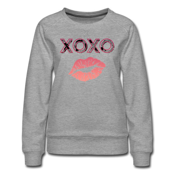 XOXO Kiss Peach Gradient Women's Premium Sweatshirt - heather gray