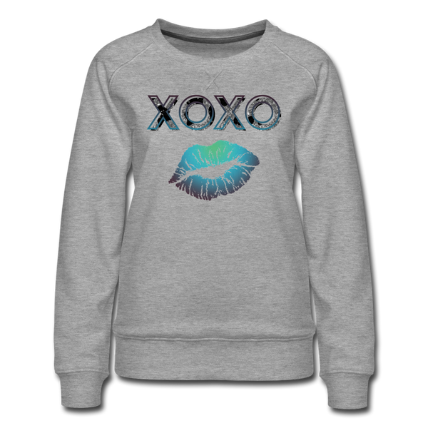 XOXO Kiss Blue Gradient Women's Premium Sweatshirt - heather gray