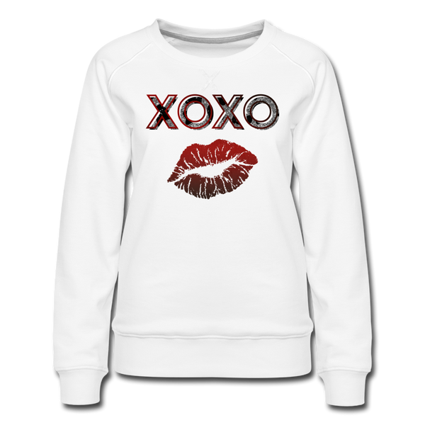 XOXO Kiss Red Gradient Women's Premium Sweatshirt - white