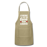 Cooking Is Love Made Edible Adjustable Apron - khaki