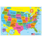 US MAP LEARNING MAT DOUBLE SIDED