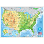 US MAP PHYSICL LEARNING MAT 2 SIDED