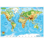 WORLD MAP PHYSICAL LEARN MAT 2 SIDE