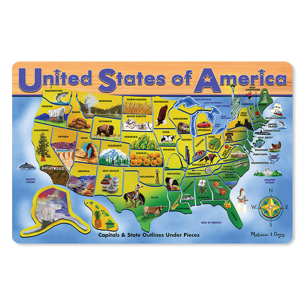 USA MAP WOODEN PUZZLE 16X12 45 PCS