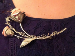 Solid silver necklace with roses