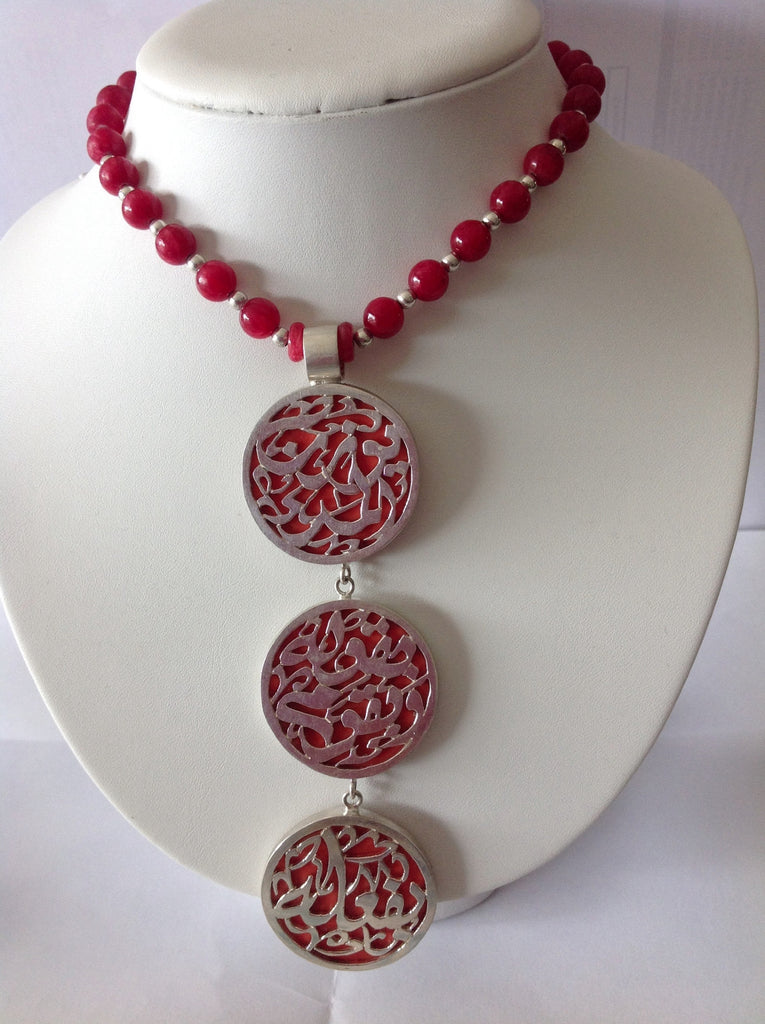 Necklace solid silver with coral stones