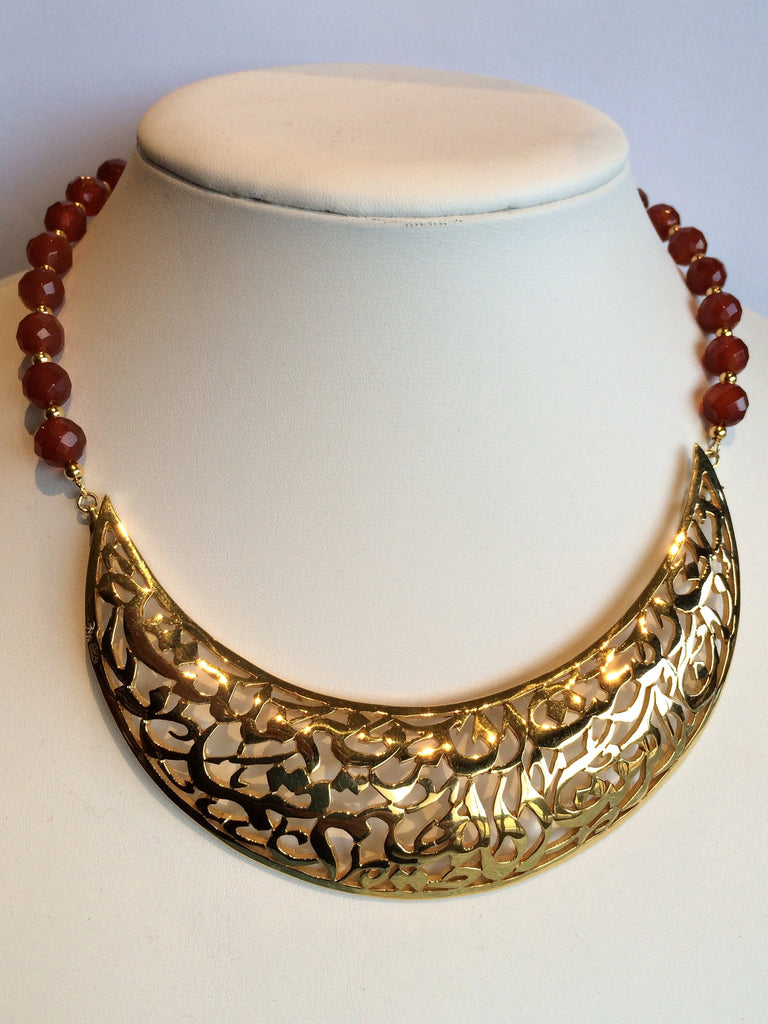 solid silver Necklace gold plated with ambre stones
