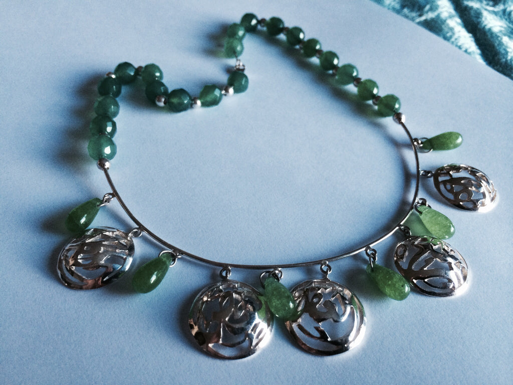 Solid Silver Necklace with Green stones