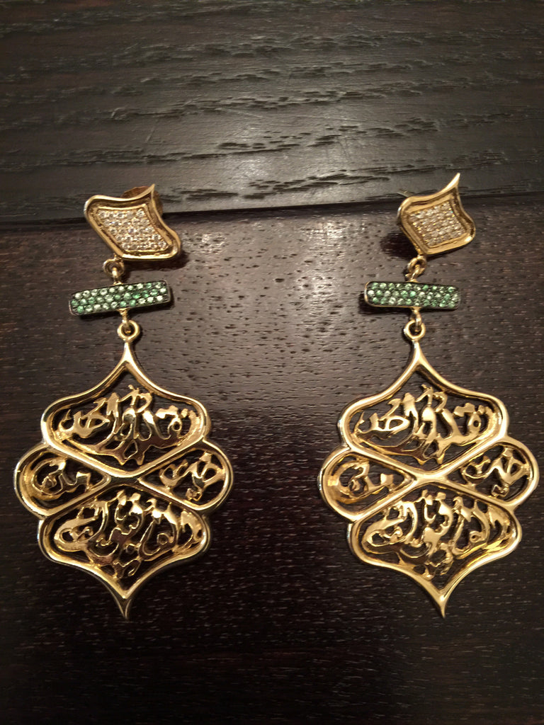Earring Gold 18K with Diamond and Green Tzovarite