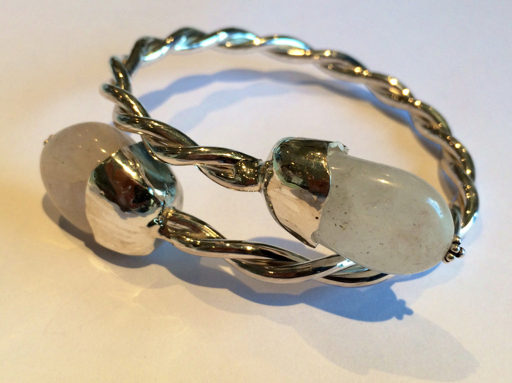 Sterling silver twist bracelet with grey agate stone