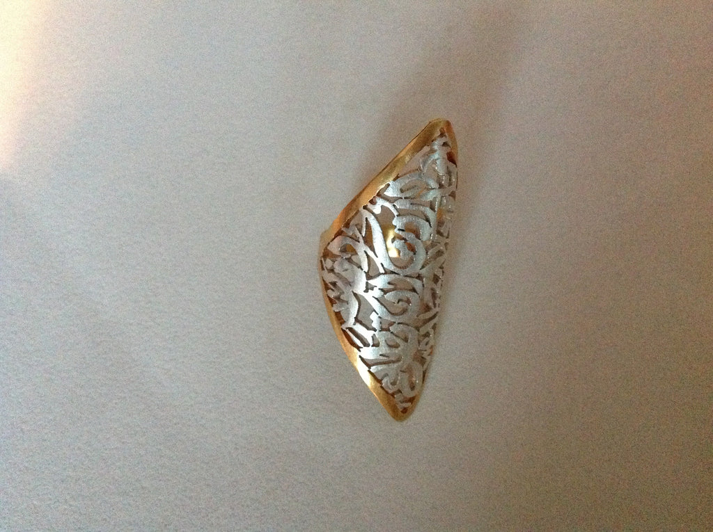 Ring solid silver border gold plated