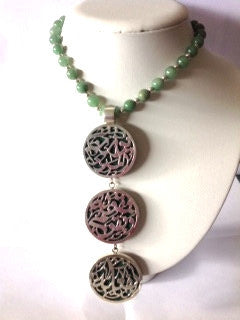 Necklace with green Jade  stones