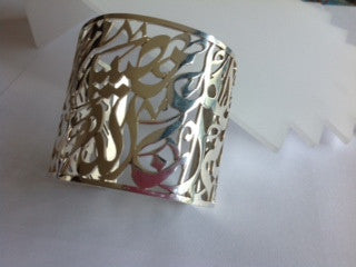 Large solid silver framed bracelet
