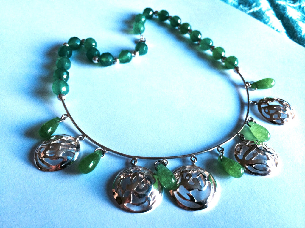 solid silver necklace with aventurine stones