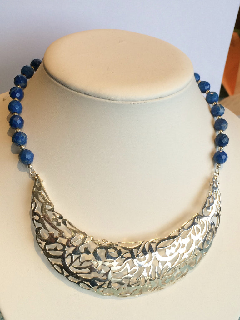 solid silver necklace with blue sodalite stones