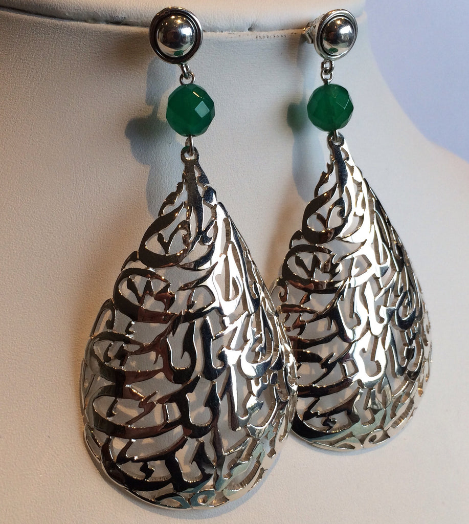 solid silver earring with green jade stone