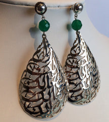 solid silver Earings with semi precious stones black pearl or green jade or blue turquoise