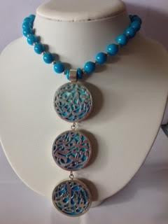 Necklace solid silver  with turquoise  stones