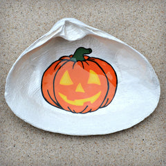 Jack-O-Lantern Pumpkin Shell Dish | Spoon Rest - Soap Dish - Jewelry Dish - Catchall | Halloween Decor | Painted Cape Cod Clam Shell