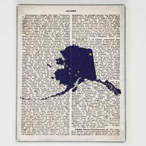 Alaska Flag Canvas Wall Decor - 8x10 Decorative AK State Map Silhouette Encyclopedia Art Print - Last Frontier Decorations