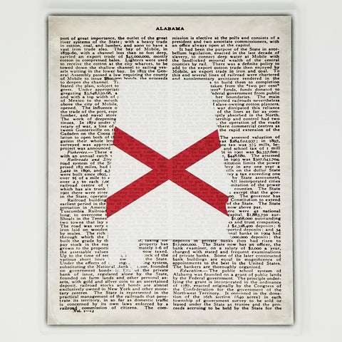 Alabama Flag Canvas Wall Decor - 8x10 Decorative AL State Map Silhouette Encyclopedia Art Print - Bama Decorations