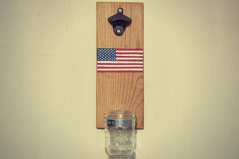 American Flag - Wall Mounted Bottle Opener with Beer Cap Catcher - Cranberry Collective - Cape Cod Gifts - Beach and Nautical Decor