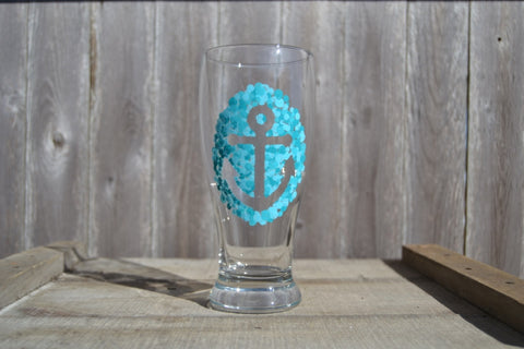 Hand Painted Anchor Pint Glasses (Set of 2) - Cranberry Collective - Cape Cod Gifts - Beach and Nautical Decor