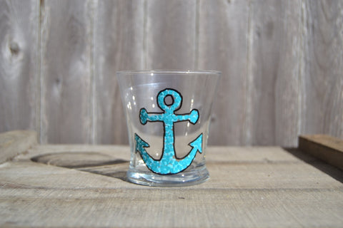 Glass Tumblers With Hand Painted Anchor (Set of 2) - Cranberry Collective - Cape Cod Gifts - Beach and Nautical Decor