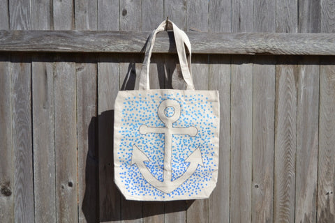 Hand Painted Anchor Reverse Silhouette Canvas Beach Bag - Cranberry Collective - Cape Cod Gifts - Beach and Nautical Decor