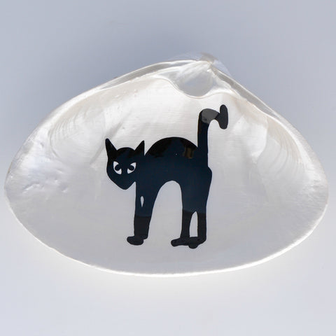Black Cat Halloween Clam Shell Dish | Jewelry Dish - Spoon Rest - Soap Dish - Cranberry Collective - Cape Cod Gifts - Beach and Nautical Decor