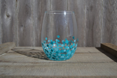 Stemless Wine Glasses Hand Painted With Blue Polka Dots (Set of 2) - Cranberry Collective - Cape Cod Gifts - Beach and Nautical Decor