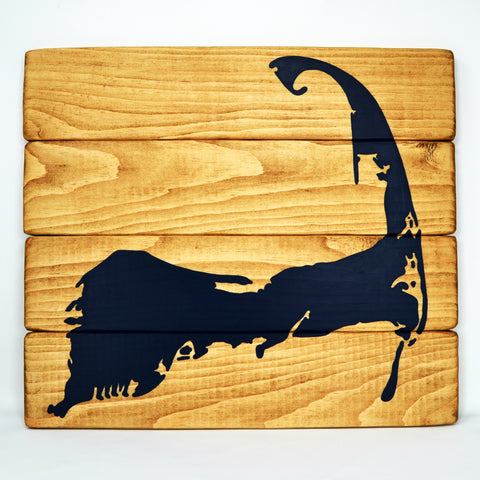 "Cape Cod Silhouette Wood Sign | 16"" by 14"" Rustic Wall Decor"