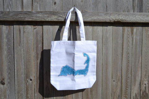 Cape Cod Canvas Beach Bag Blue Silhouette Graphic - Cranberry Collective - Cape Cod Gifts - Beach and Nautical Decor