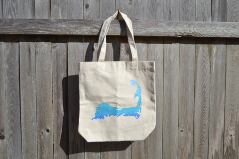 Cape Cod Canvas Beach Bag Silhouette Graphic - Cranberry Collective - Cape Cod Gifts - Beach and Nautical Decor