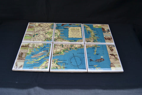 Tile Drink Coasters (Set of 6) - Cape Cod Map - Cranberry Collective - Cape Cod Gifts - Beach and Nautical Decor