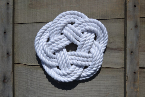 "Carrick Bend Trivet White Cotton Rope - 8.5"" - Cranberry Collective - Cape Cod Gifts - Beach and Nautical Decor"