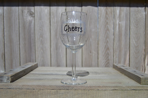 "Hand Painted Red Wine Glass - ""Cheers!"" (Set of 2) - Cranberry Collective - Cape Cod Gifts - Beach and Nautical Decor"